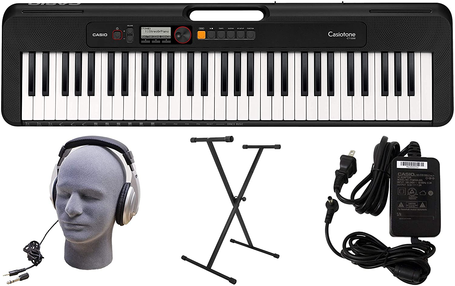 Casio CT-S200BK 61-Key Premium Keyboard Pack with Stand, Headphones & Power Supply, Black (CAS CTS200BK PPK)