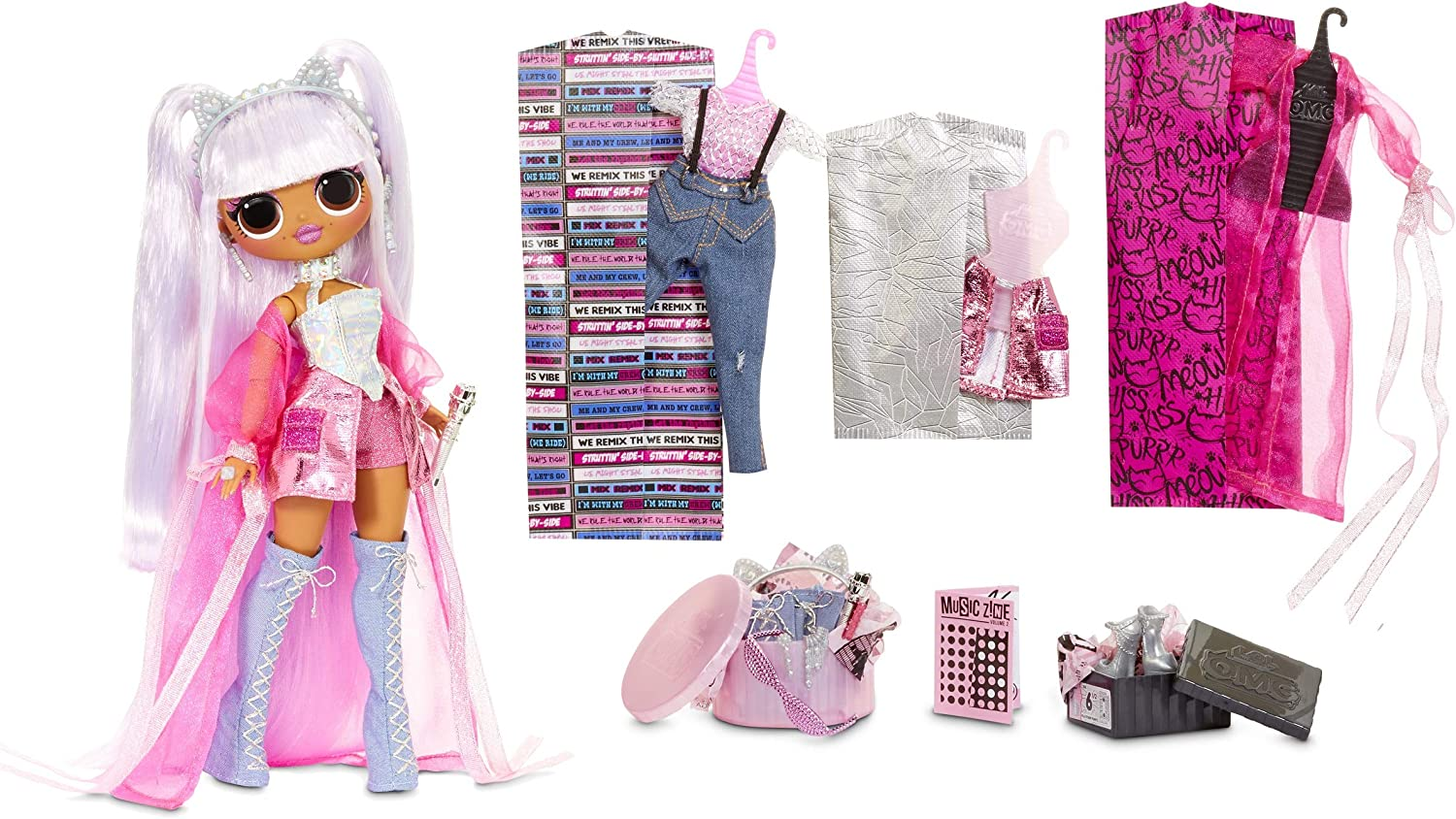 Lol Surprise Omg Remix Kitty K Fashion Doll With 25 Surprises Plays Music With Extra Outfit Shoes Hair Brush Doll Stand Lyric Magazine And Record Player Package For Girls Ages