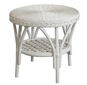 Korb Outlet Rattan Tisch Beistelltisch Rund In Der Farbe Weiss De