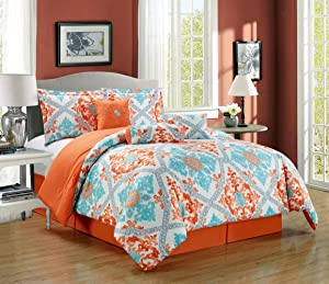 Grand Linen 6-Piece Oversize Fine Printed Designer Comforter Set Queen Bedding Incl Matching Pillows (Orange, Turquoise, Blue, White, Grey)