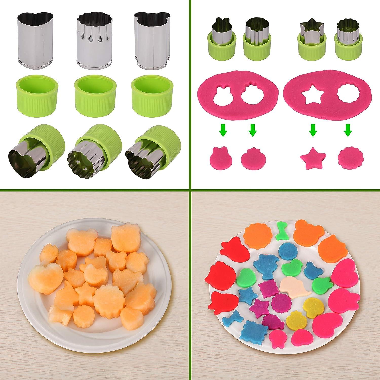 20 unidades verduras Moldes, kwokwei Cookie Postre Fruta Cortador de Galletas (Acero Inoxidable, galletas,/galletas - Juego de moldes con antideslizante ...