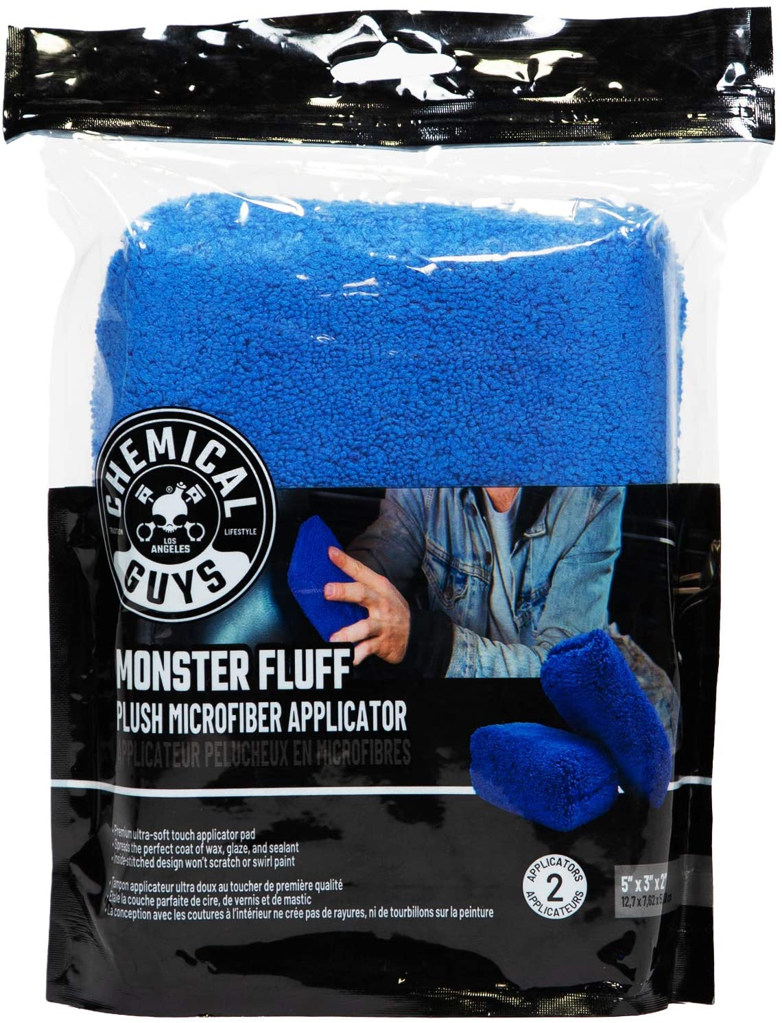 Chemical Guys Mic28602 Außen Premium Mikrofaser Applikator Blau 2 Stück Monster Fluff Dunkelblau Pack Of 2 Set Of 2 Auto