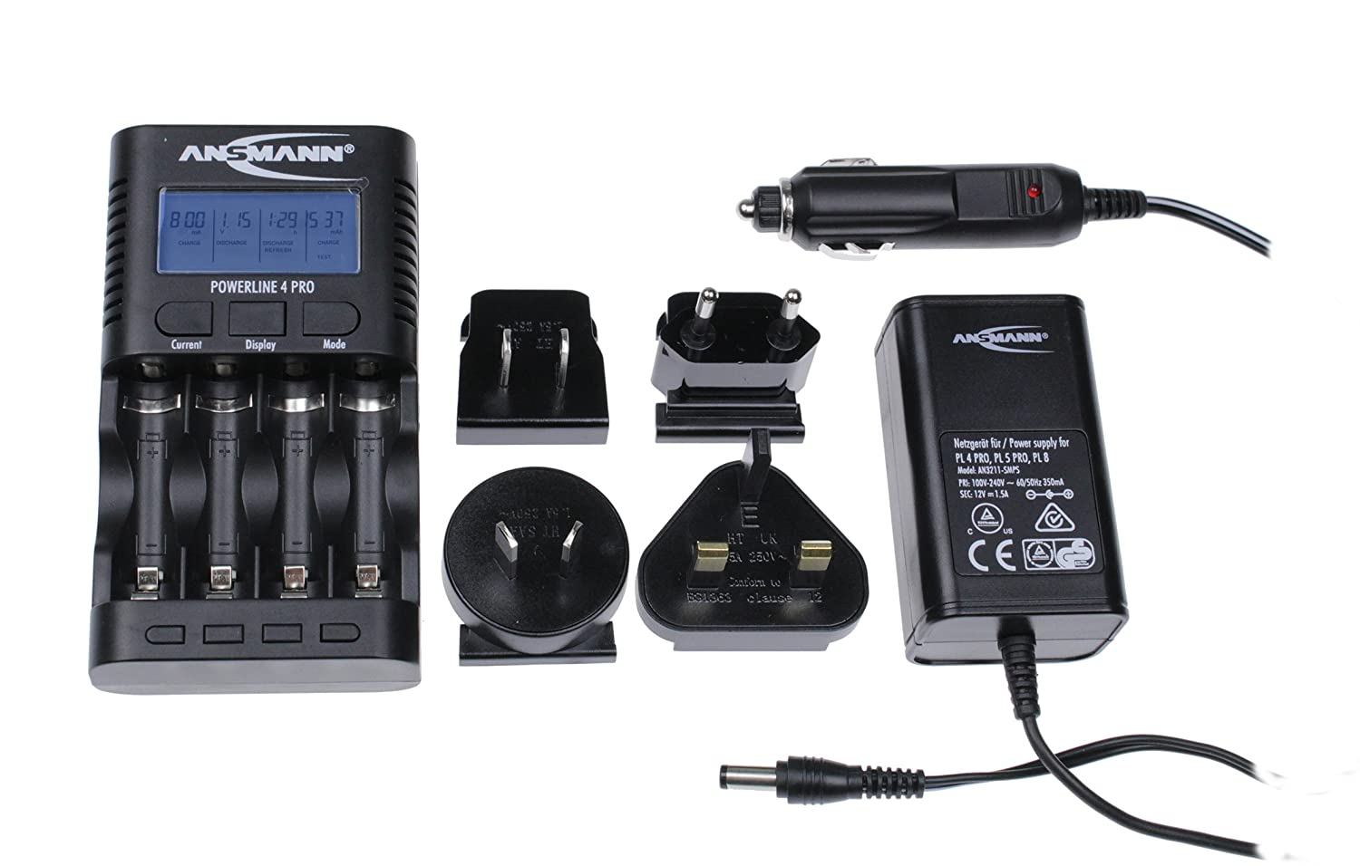 ANSMANN Powerline 4 Pro battery charger with UK, EU, US & AUS Plugs | 4 way fast charger to charge and discharge NiMH rechargeable 1.2V AA & AAA batteries | Pro USB port for camera, phone and tablet 1001-0005-UK-1