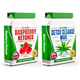RASPBERRY KETONES x60 + COLON CLEANSE x60 - Max Strength Fat Burners and Colon Cleanse DETOX Capsules - Slimming Diet Pills   Suppress Appetite, Boost Metabolism and Increase Energy for Weight Loss