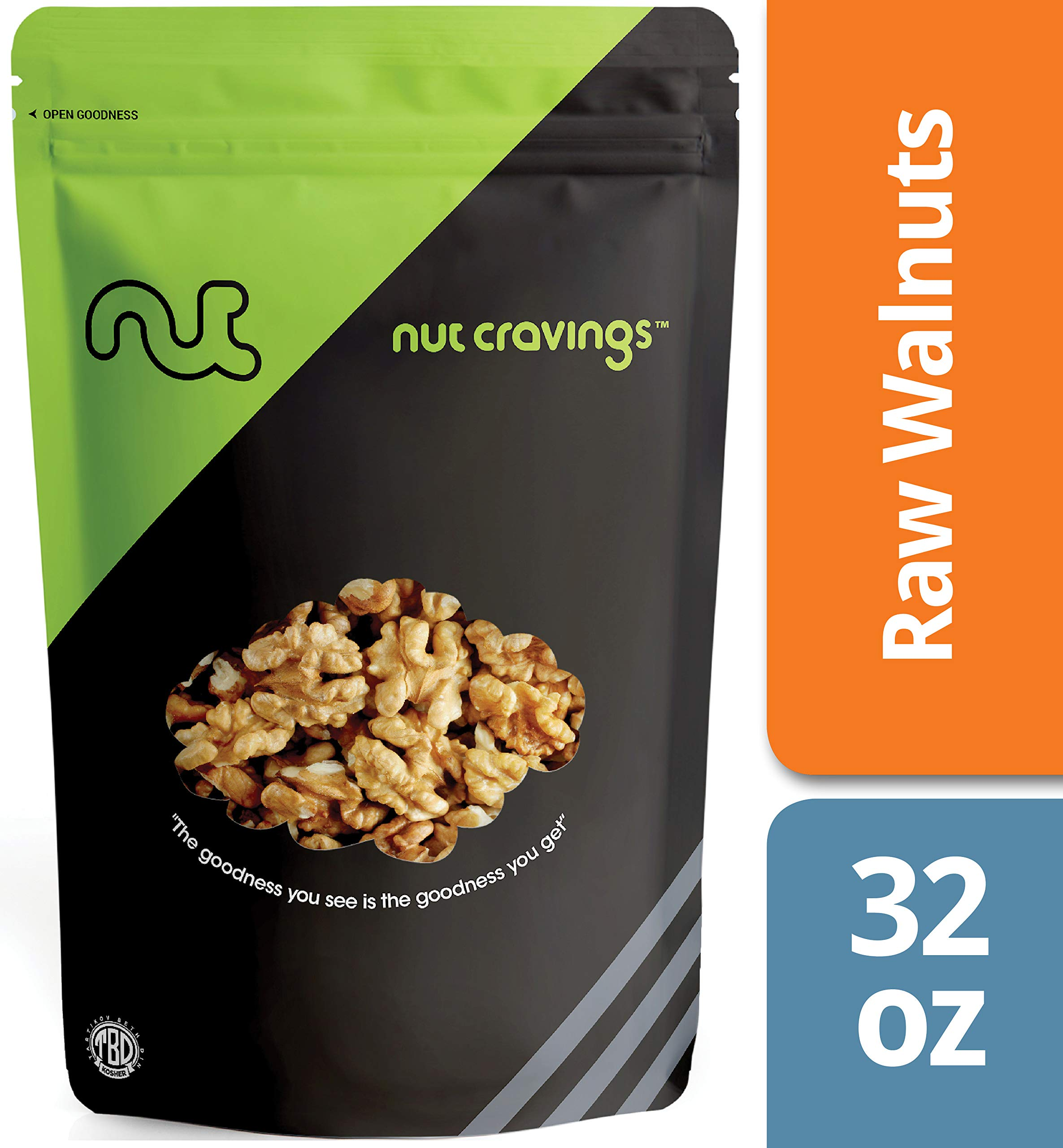 Nut Cravings California Raw Walnuts (2 Pounds) - 100% All Natural Shelled Halves and Pieces - 32 Ounce