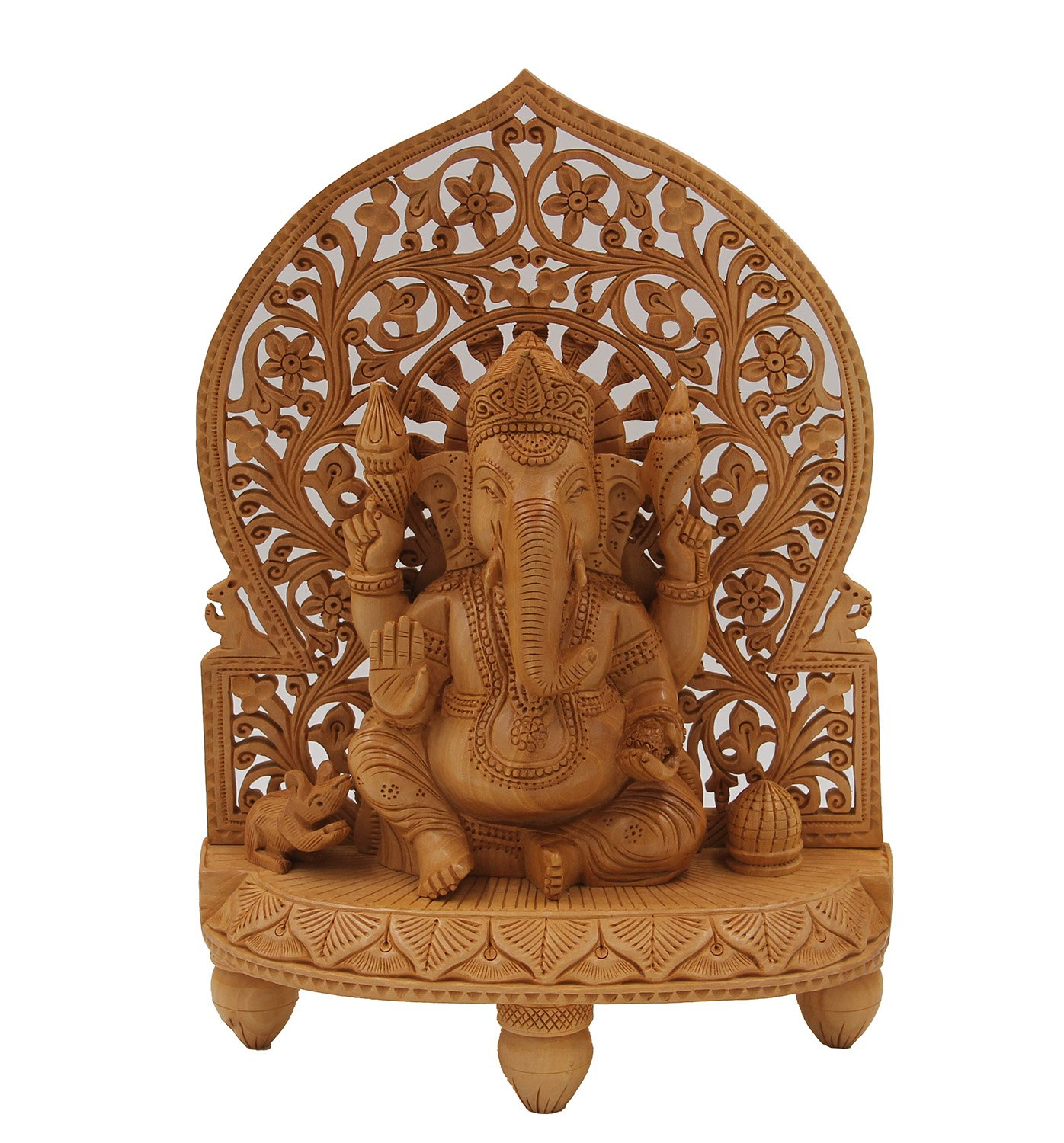 "DharmaObjects Large Ganesha Hand Carved Wooden Statue - Ganesh Wooden Sculpture Elephant God Hindu Deity (12"" Tall X 8.5"" Wide, Ganesha)"
