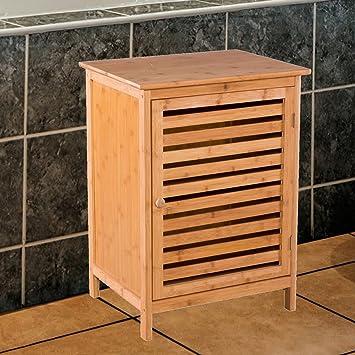 Badezimmerschrank mit Tür und Ablagen aus Bambus - Kommode für Bad ...