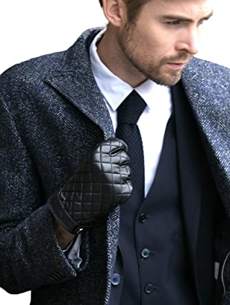 Yiseven Mens Winter Genuine Sheepskin Touchscreen Leather Gloves