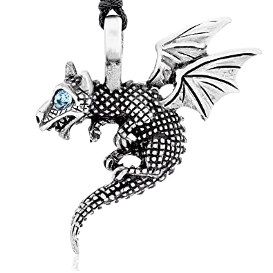 Llords Jewellery Blue Eye Baby Dragon Pendant Necklace + Silver Plated Clasp, Fine Pewter Jewelry