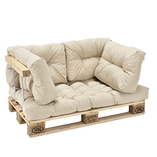 [en.casa]®] Set de 5 Cojines para sofá-palé - cojín de Asiento + Cojines de Respaldo Acolchados [Beige] para europalé In/Outdoor