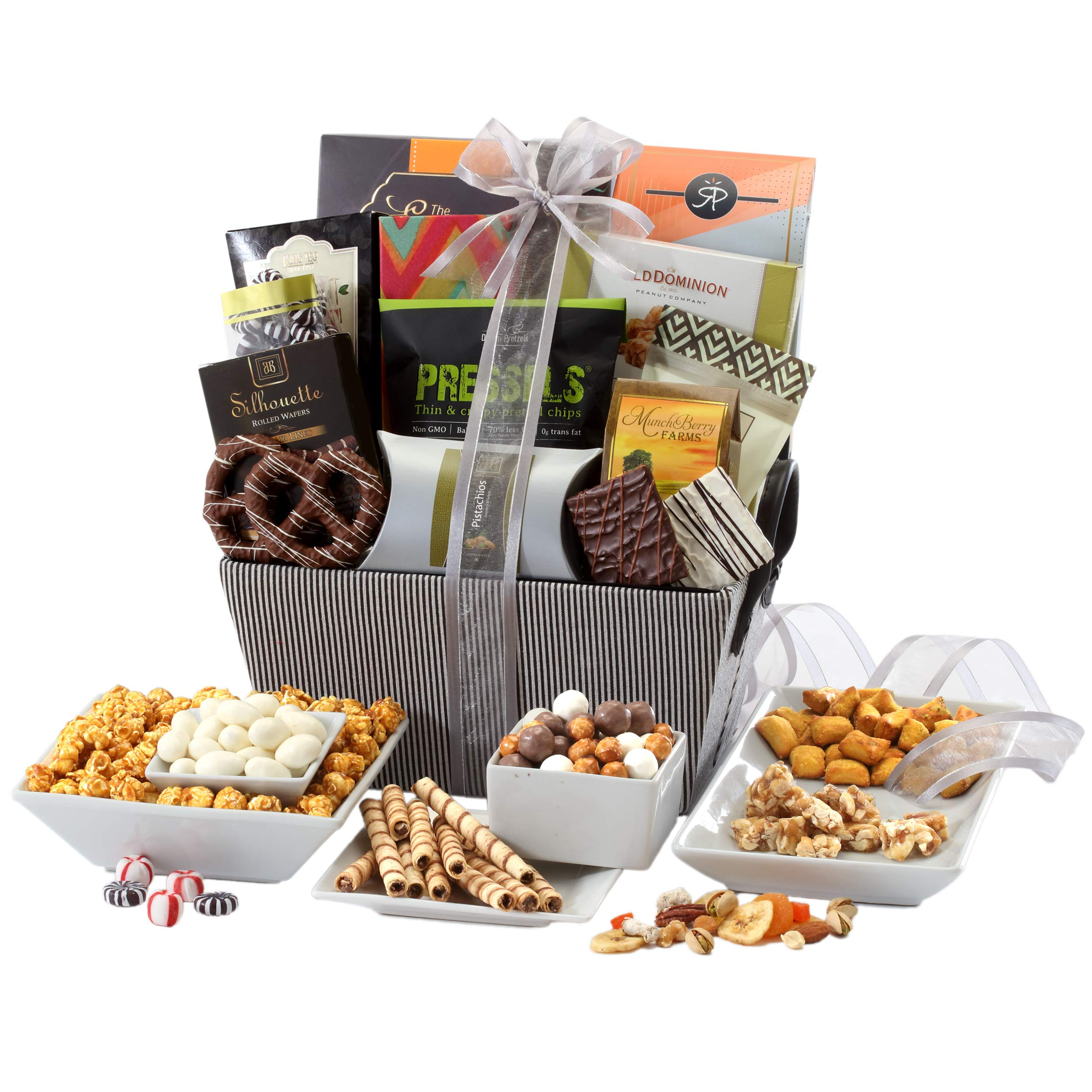 Sweet and Savory Gift Basket with Chocolates, Seasoned Nuts, Brittle, Pastries, Assorted Sweets & Snacks by Broadway Basketeers (Image #2)