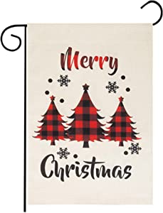 """Roberly Merry Christmas Garden Flag, Vertical Christmas Flag with Buffalo Check Plaid Tree, Double-Sided Christmas Yard Flag Xmas Quote Winter Garden Flag for Outdoor Decoration (12.5"""" x 18"""")"""