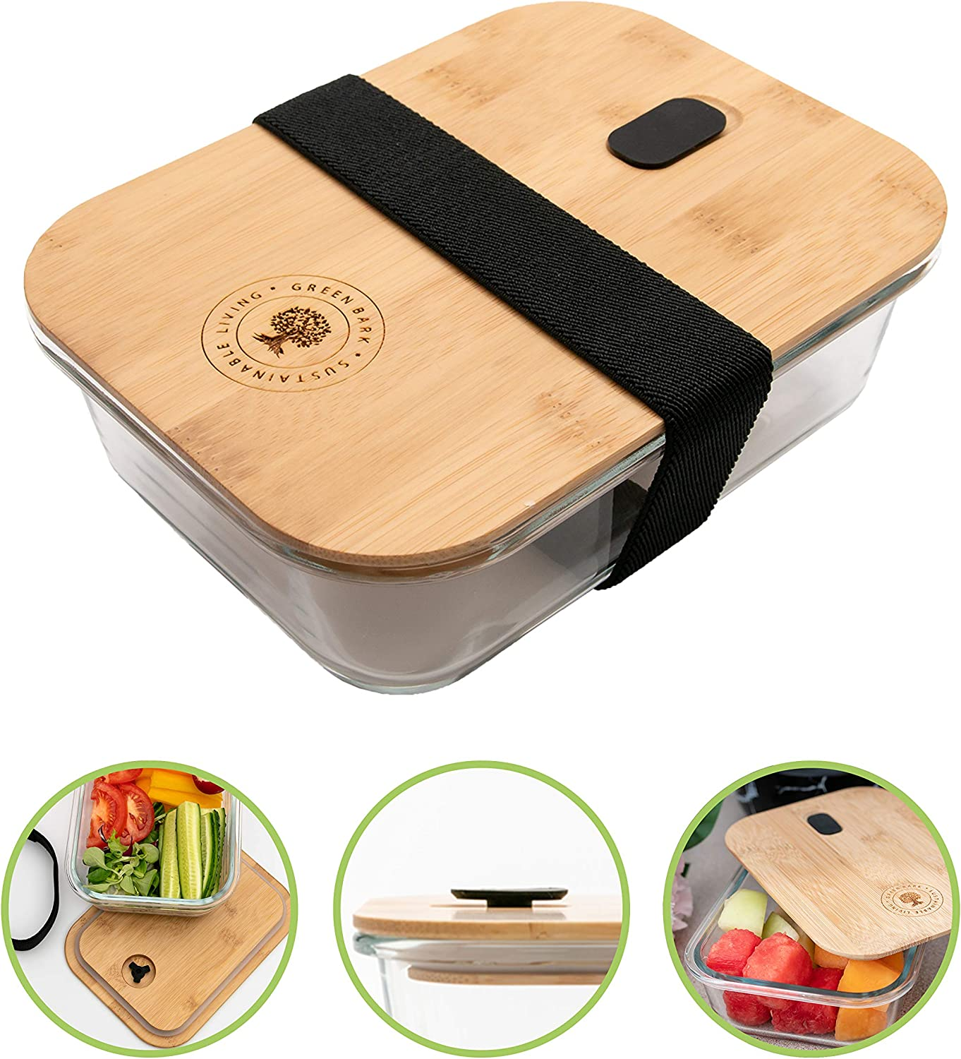 Plastic-Free Glass Food Containers with innovative design (leak-proof) and elastic strap, Glass Food Containers with Eco-Friendly Bamboo Lids, Glass Meal Prep Containers, Glass Bento, Lunch Container