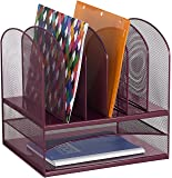Safco Products 3255WE Onyx Mesh Desktop Organizer with 6 Vertical/ 2 Horizontal Sections, Wine 2-Pack