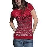 NCAA Wisconsin Badgers T.Fisher 4 Years 48 Months Vintage Junior Short Sleeve Tee Shirt