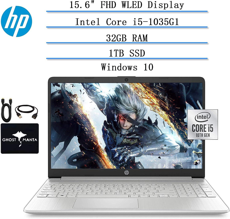 "2020 HP Laptop 15.6"" Full-HD Micro-Edge WLED Computer, 10th Gen Intel Quad-Core i5-1035G1 (up to 3.6 GHz, Beat i7-7260U), 32GB RAM, 1TB SSD, Webcam, HDMI, WiFi, Bluetooth Win10, w/GM Accessories"
