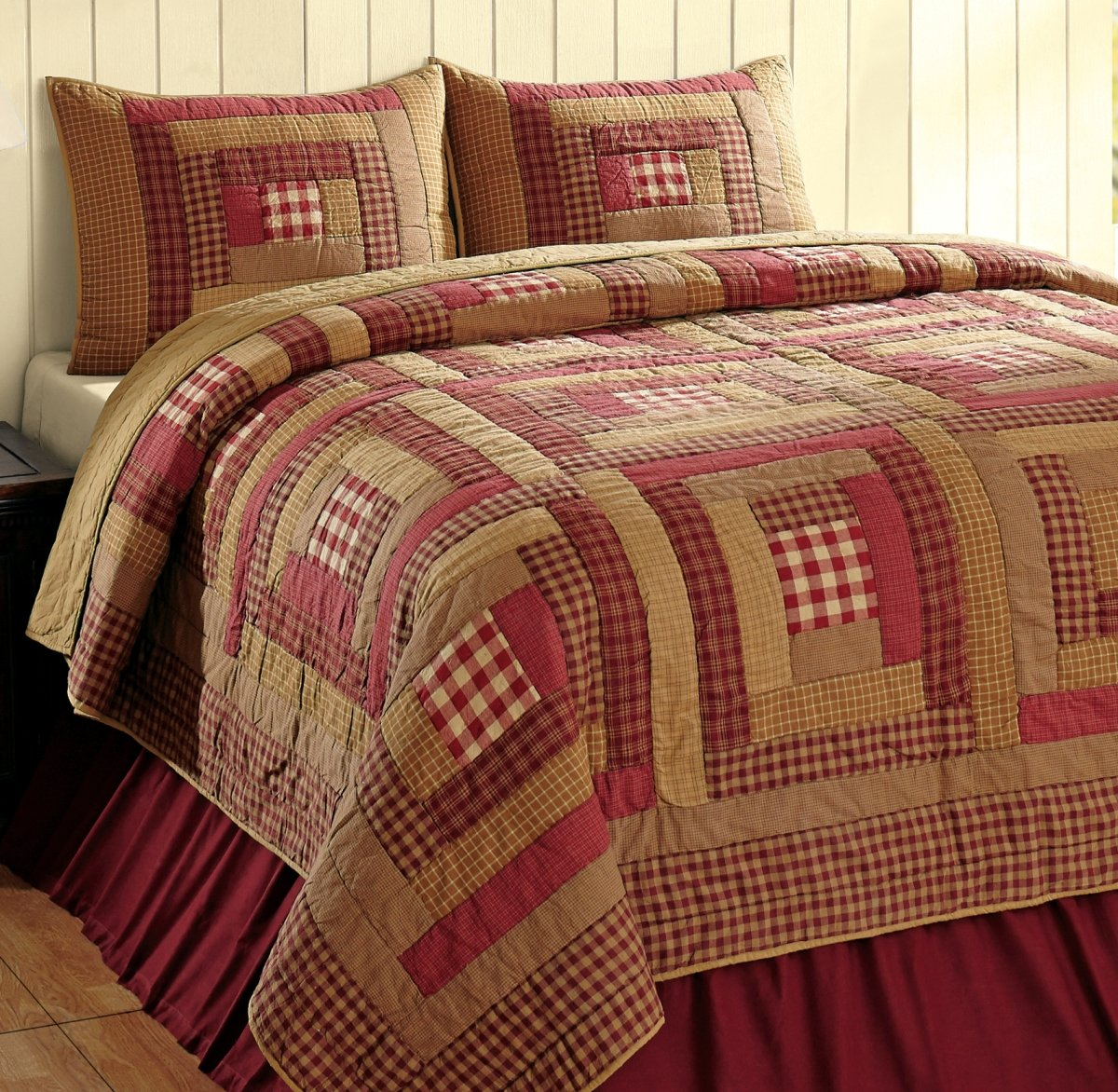 Goldie Wine and Khaki Tan Log Cabin 3 Piece King Country Quilt Set by VHC Brands