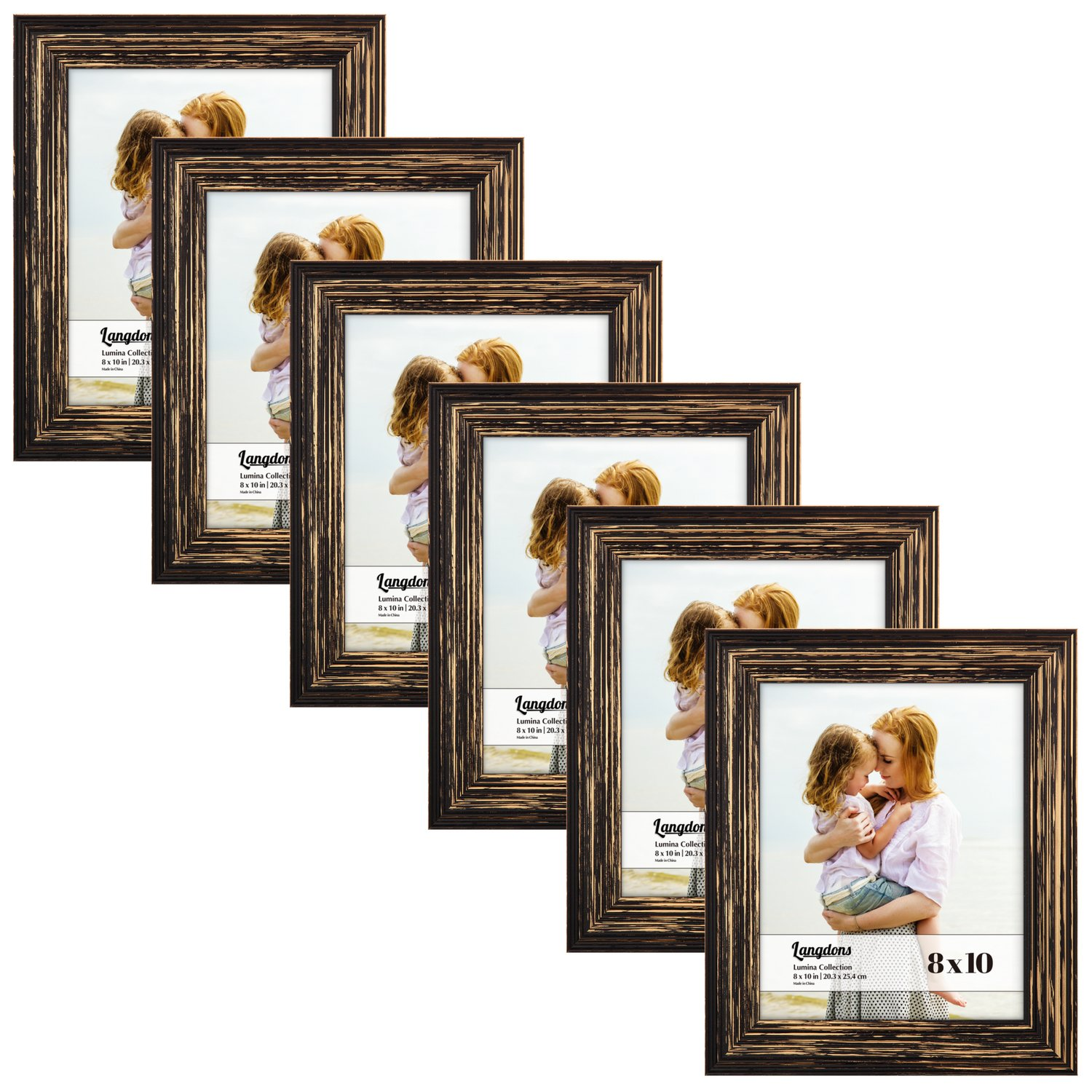 Langdons 8x10 Picture Frame Set (6-Pack, Barnwood Brown) Solid Wood Photo Picture Frames 8x10, Wall Hanging or Table Top, Display Picture Frame 8x10 Vertically or 10x8 Horizontally, Lumina Series