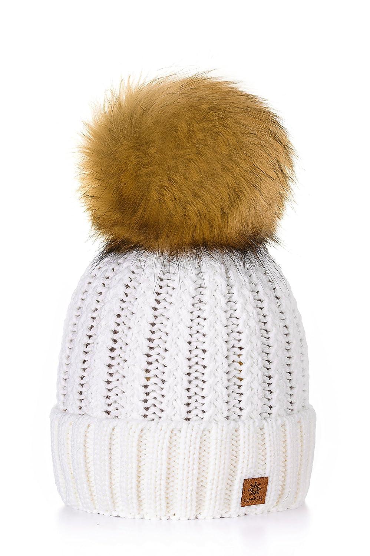 Winter Cappello Cristallo Grand Pom Pom Invernale Di lana Berretto Delle Signore Delle Donne Beanie hat Pera Sci Snowboard Di Moda MFAZ Morefaz Ltd (Burgundy)