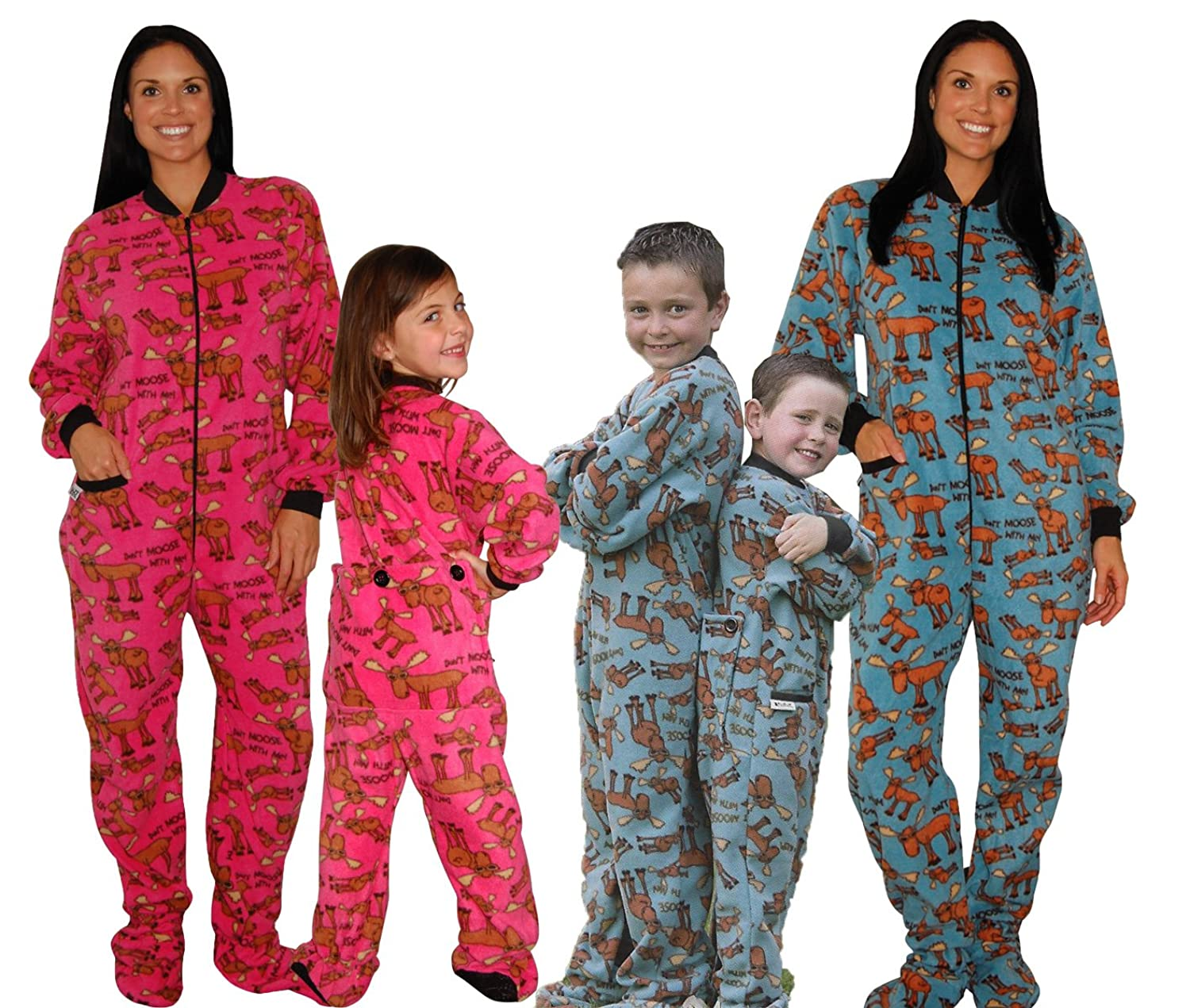 Lazy One Blue and Pink Moose Family Matching Footed Fleece Pajama