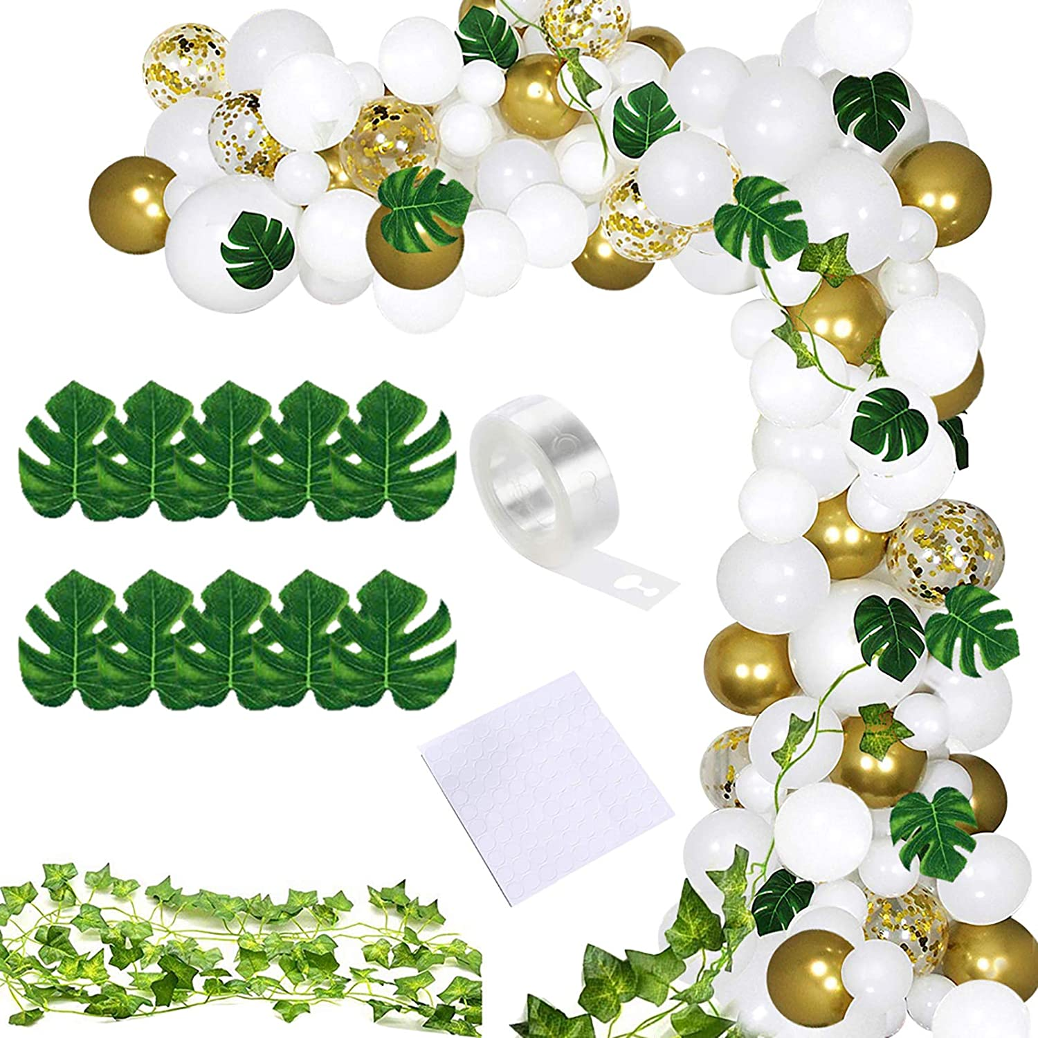 White Gold Confetti Balloon Graland Kit, 124PCS Jungle Theme Party Décor Gold Latex Party Balloons Including Palm Leaves Green Ivy Leaf Garland Vines Decoration for Wedding Birthday