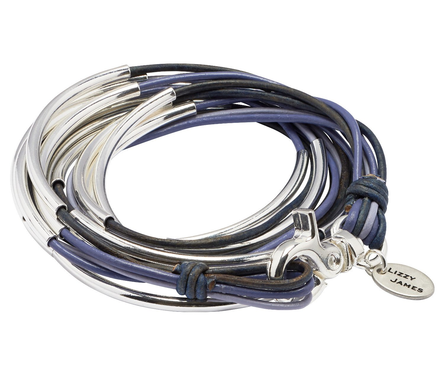 Lizzy Too 5 Strand Blueberry Silverplate XLarge Bracelet Necklace with Tricolor Berry Leather Wrap by Lizzy James
