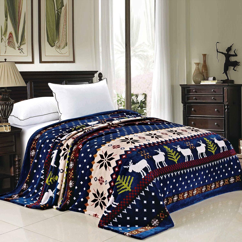 BNF Home Collection Flannel Fleece Blanket, Twin, Blue Christmas Deer
