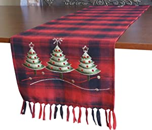 "GRANDDECO Holiday Christmas Table Runner, Plaid Fabric with Embroidered Floral Christmas Trees Dresser Scarf Table Topper for Home Dining Xmas Table Top Decoration (Runner 13""x54"", Christmas Trees)"