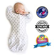 SwaddleDesigns Transitional Swaddle Sack with Arms Up, Tiny Hedgehog, Black, Medium, 3-6MO, 14-21 lbs (Parents' Picks Award Winner)