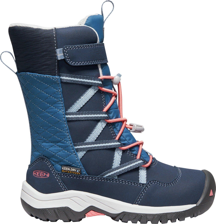 Keen - Kid's Hoodoo Waterproof, Insulated Snow Boots for Winter, Blue Nights/Sugar Coral, 11 M US Big Kid