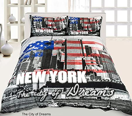 35510516066 New 3D Effect Duvet Cover, Bedding Sets Printed on Polyester Stuff with  Pillowcases in Double, King Size (Double, New York): Amazon.co.uk: Kitchen  & Home