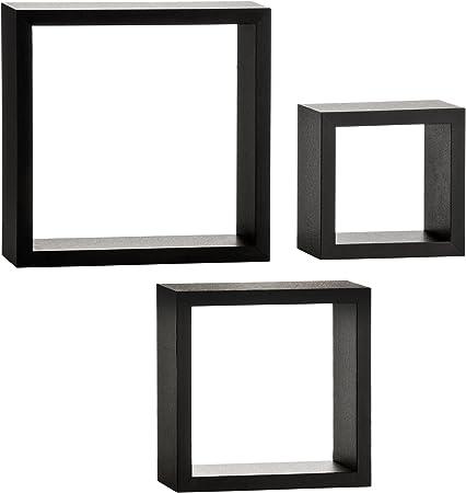 Noir Lounge Murale Étagères 2402799 de 3 Cube en Premier Housewares Lot mNw8n0