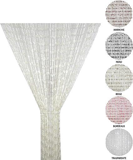 BiancheriaWeb Tenda Antimosca Antirumore Catenella Perline A Caduta Pannello Porta Finestra Casa Beige 100x200 Beige