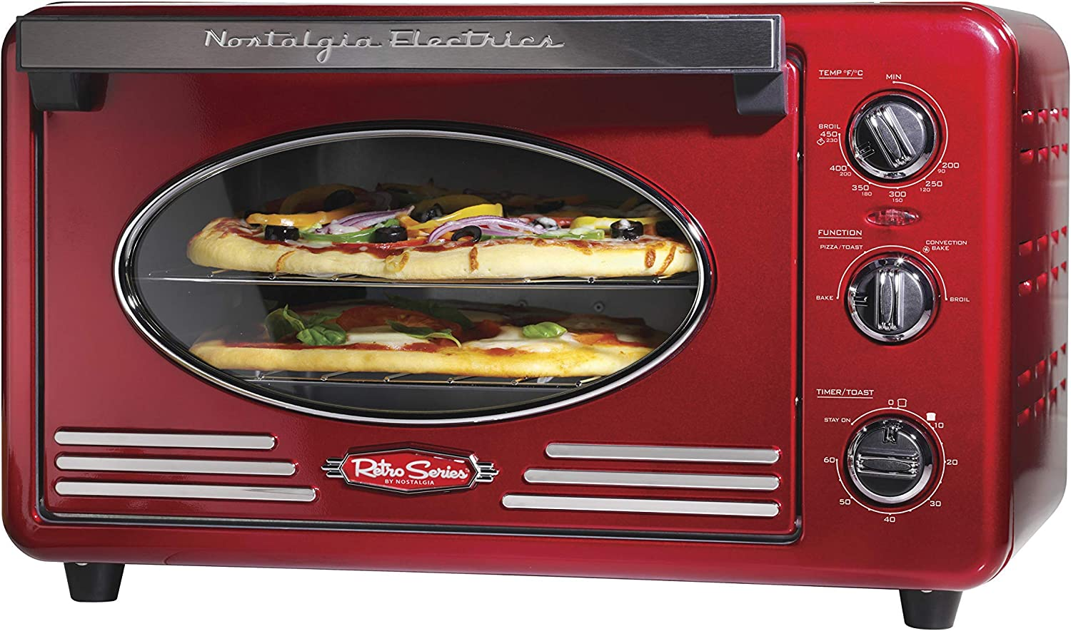 Nostalgia RTOV2RR Large-Capacity 0.7-Cu. Ft. Capacity Multi-Functioning Retro Convection Toaster Oven, Fits 12 Slices of Bread and Two 12-Inch Pizzas, Built In Timer, Includes Baking Pan,Metallic Red (Renewed)