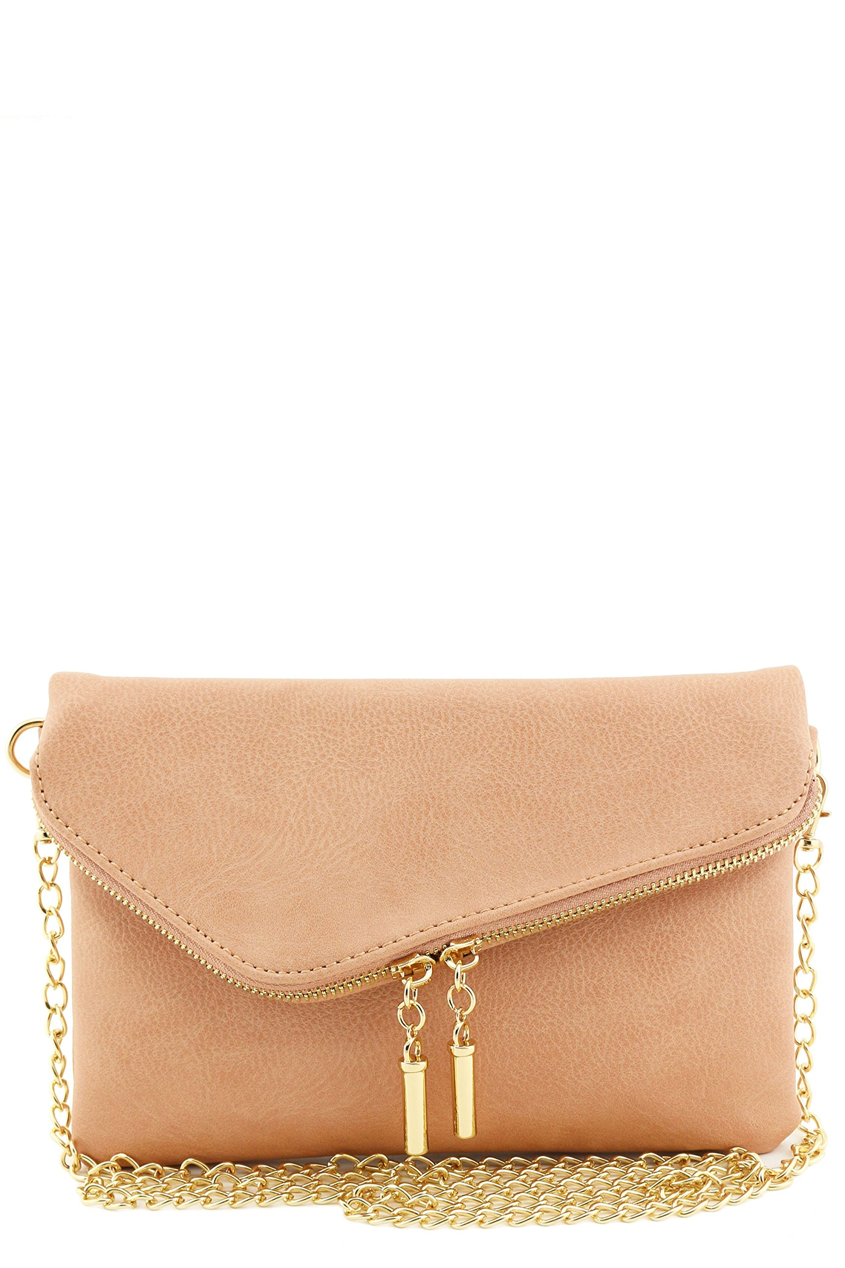 Envelope Wristlet Clutch Crossbody Bag with Chain Strap (Rose Pink)