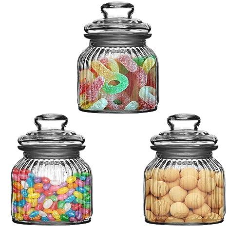 Set of 3 600 ml Vintage Glass Storage Jars Ribbed Tea Coffee Sugar Food Sweets