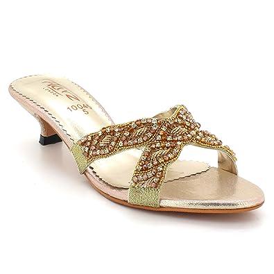 cf1b1d7e76faf3 AARZ LONDON Womens Ladies Rhinestones Evening Wedding Party Bridal Comfort  Diamante Low Kitten Heel Slip-on Sandals Shoes Size  Amazon.co.uk  Shoes    Bags