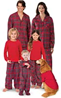 PajamaGram Red Flannel Stewart Plaid Matching Family Christmas Pajama Set