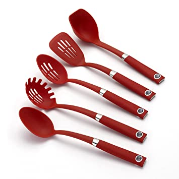 amazon com rachael ray tools 5 piece soft grip tool set red rh amazon com rachael ray essential kitchen tools rachael ray silicone kitchen utensils