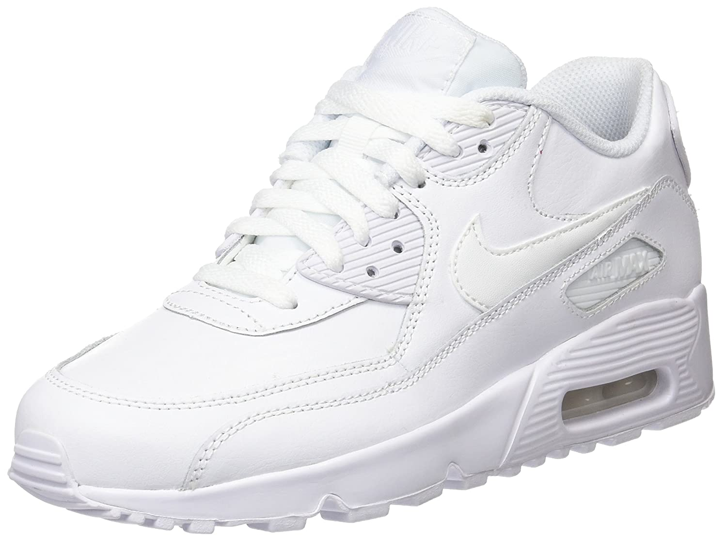 NIKE Kids Air Max 90 LTR (GS) Running Shoe B000VNQ564 3.5 M US Big Kid|White/White