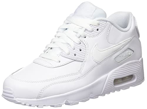 superior quality e1f64 a1836 Nike Girls Air Max 90 Leather Running Shoes, White (White White 100)