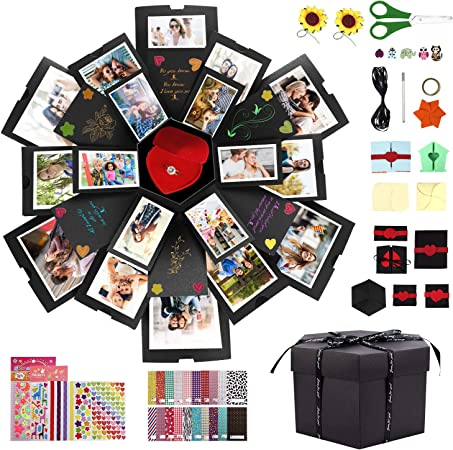 Gifort Caja de Regalo DIY Álbum de Fotos Hecho a Mano, Explosion Box Sorpresa Explosión Caja de Regalo Amor Memoria para Cumpleaños Día de San Valentín Aniversario Navidad Día de la Madre: