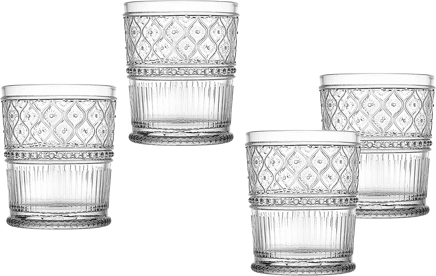 DOF Glass Beverage Set Tumbler Water, Juice Cup Clear Claro by Godinger - Set of Four