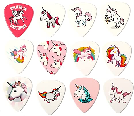 Lote de 12 púas para guitarra con diseño de unicornio