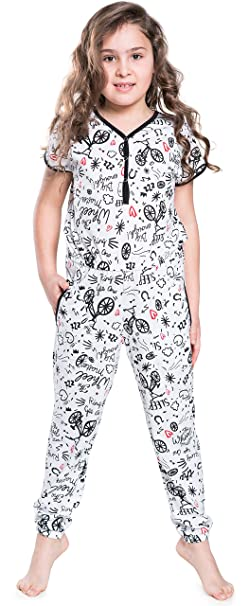 Italian Fashion IF Pijama Entero para Niñas IFS18005 (Blanco, 98-104)