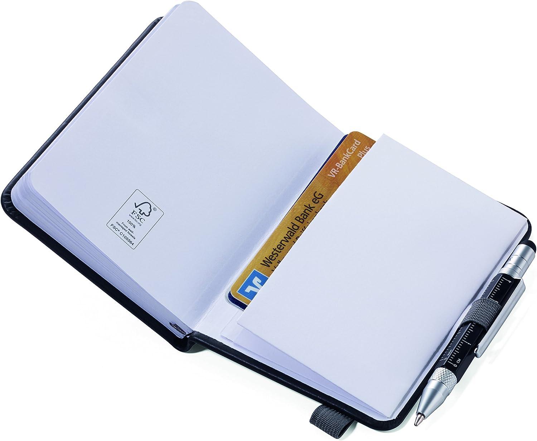 Pen Holder Notebook Journal Dot Grid Notebook Elastic Band NPP25BK//RD Notepad DIN A7 with Ballpoint Pen 10 cm TROIKA LILIPAD+LILIPUT Ruler Perforated FSC Paper