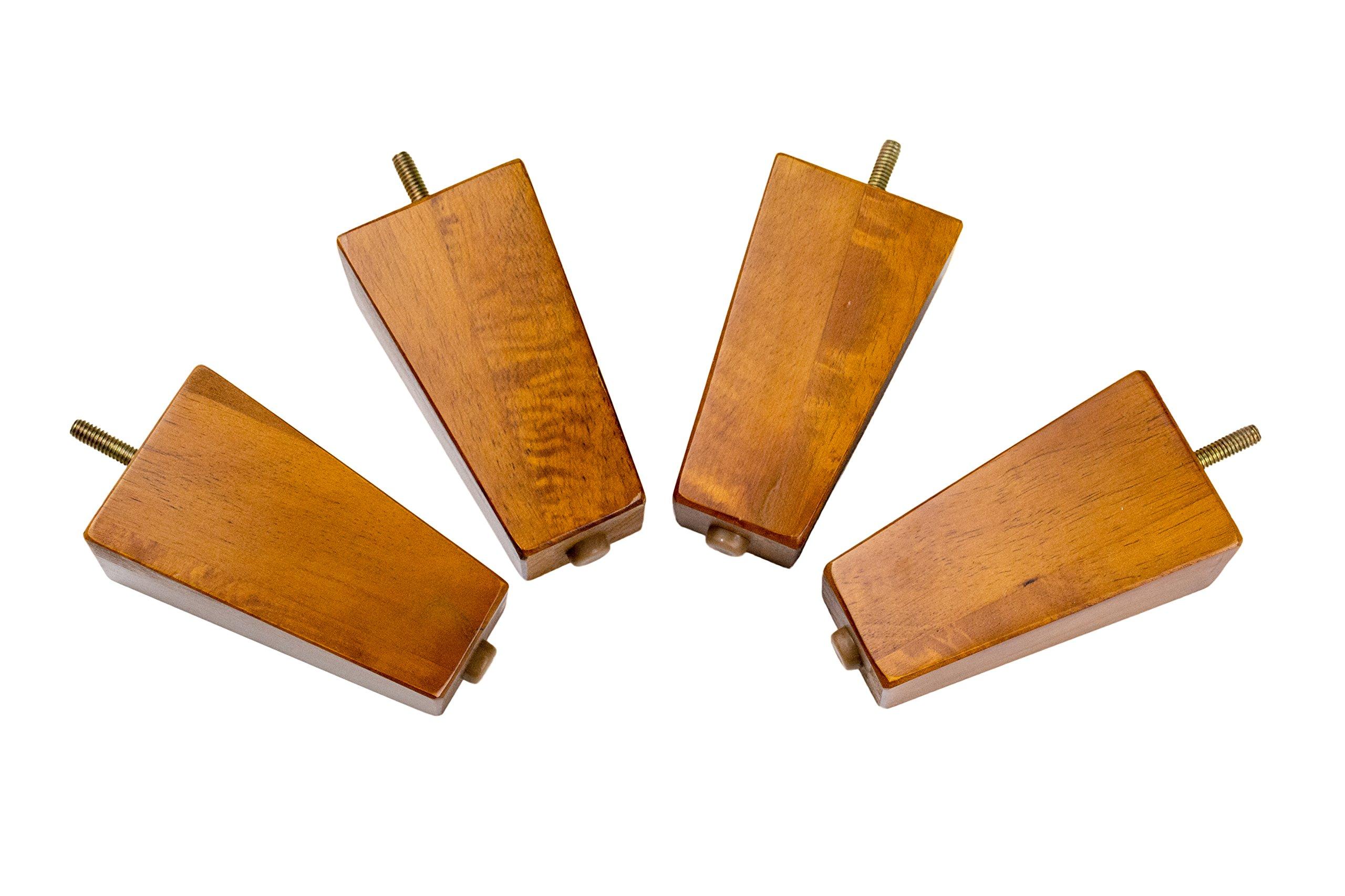 MJL Furniture Designs Medium Wooden Square/Block Shaped Replacement Sofa or Ottoman Threaded Leg (Set of 4), Pecan, 5'' x 2-3/4'' x 1-3/4''