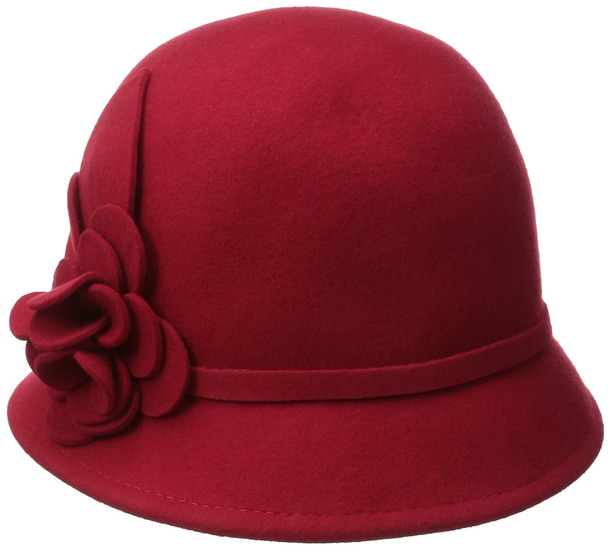Nine West Women's Felt Cloche Hat with Self Flower, Red, One Size