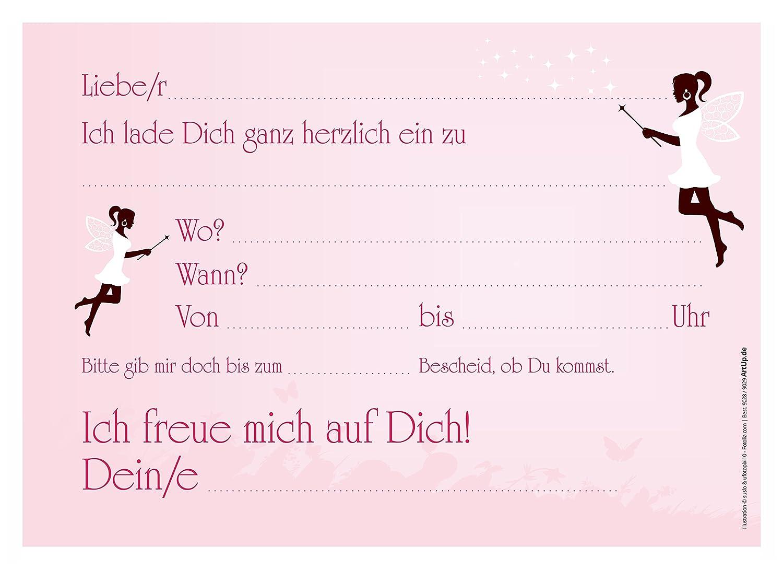 12 Einladungskarten Madchen Geburtstag Fee Elfe Zauberstab Rosa