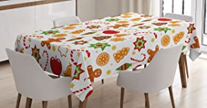 Ambesonne Gingerbread Man Tablecloth, Christmas Graphic Pattern Star Cookies Apples Bells, Rectangular Table Cover for Dining Room Kitchen Decor, 60